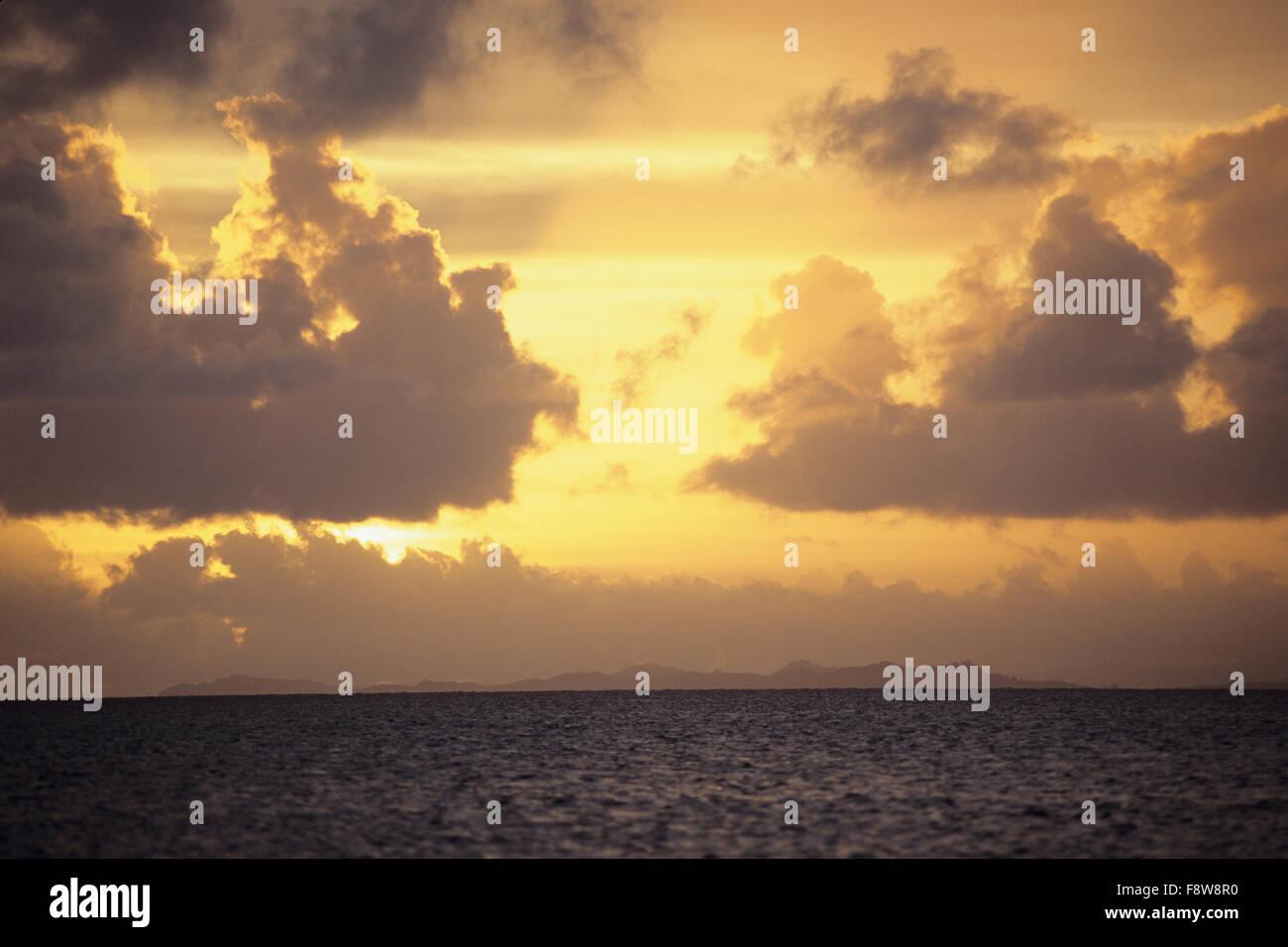 Fiji Islands, Viti Levu, Jean-Michel Cousteau, Fiji Islands Resort, sunset, oceanscape - Stock Image