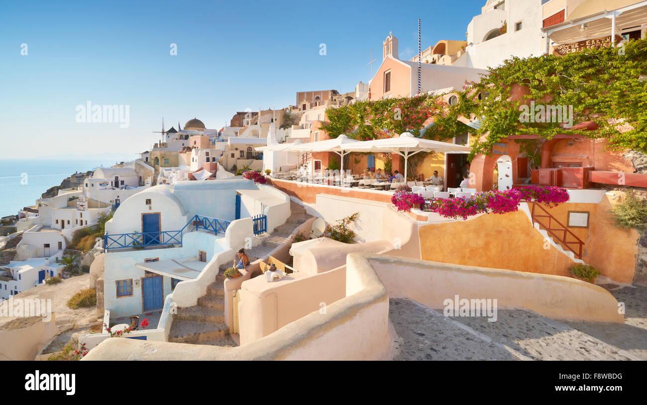 Oia Town, Santorini Caldera Cyclades, Greece - Stock Image