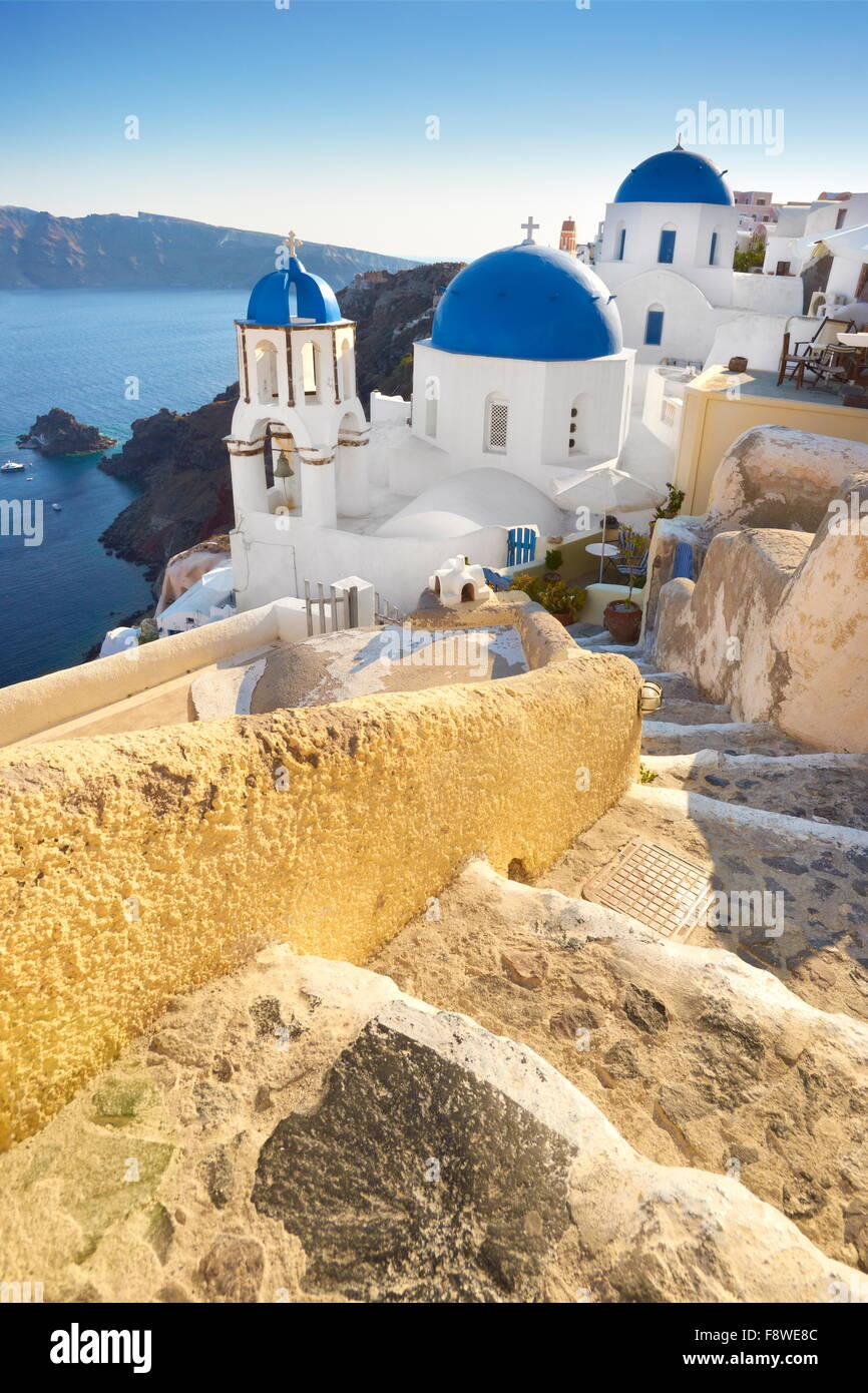 Santorini Island, Greece - stairs leading to the samll white church in Oia Town, Cyclades - Stock Image