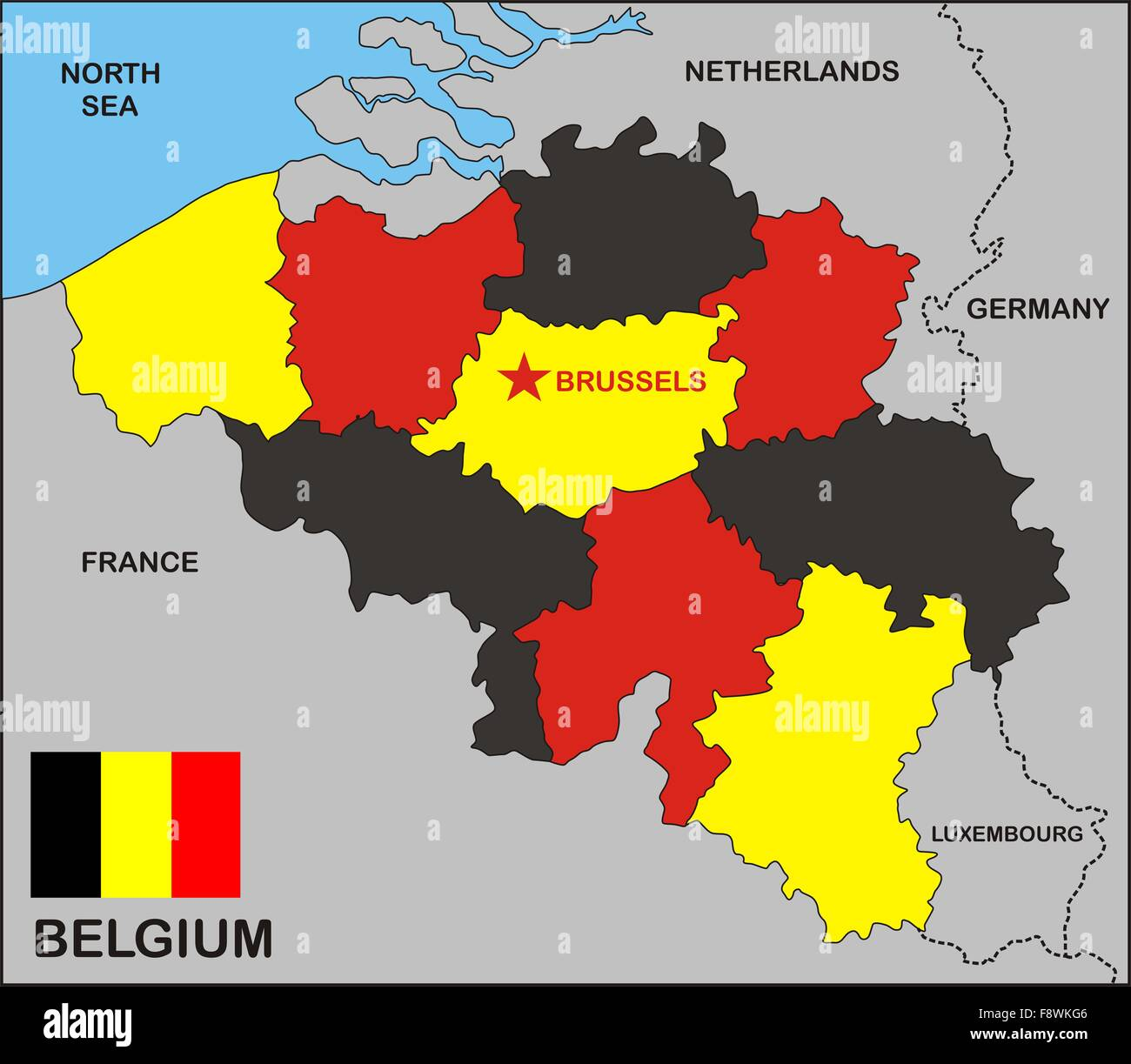 Cartina Belgio Politica.Belgium Political Map Stock Photo 91533238 Alamy