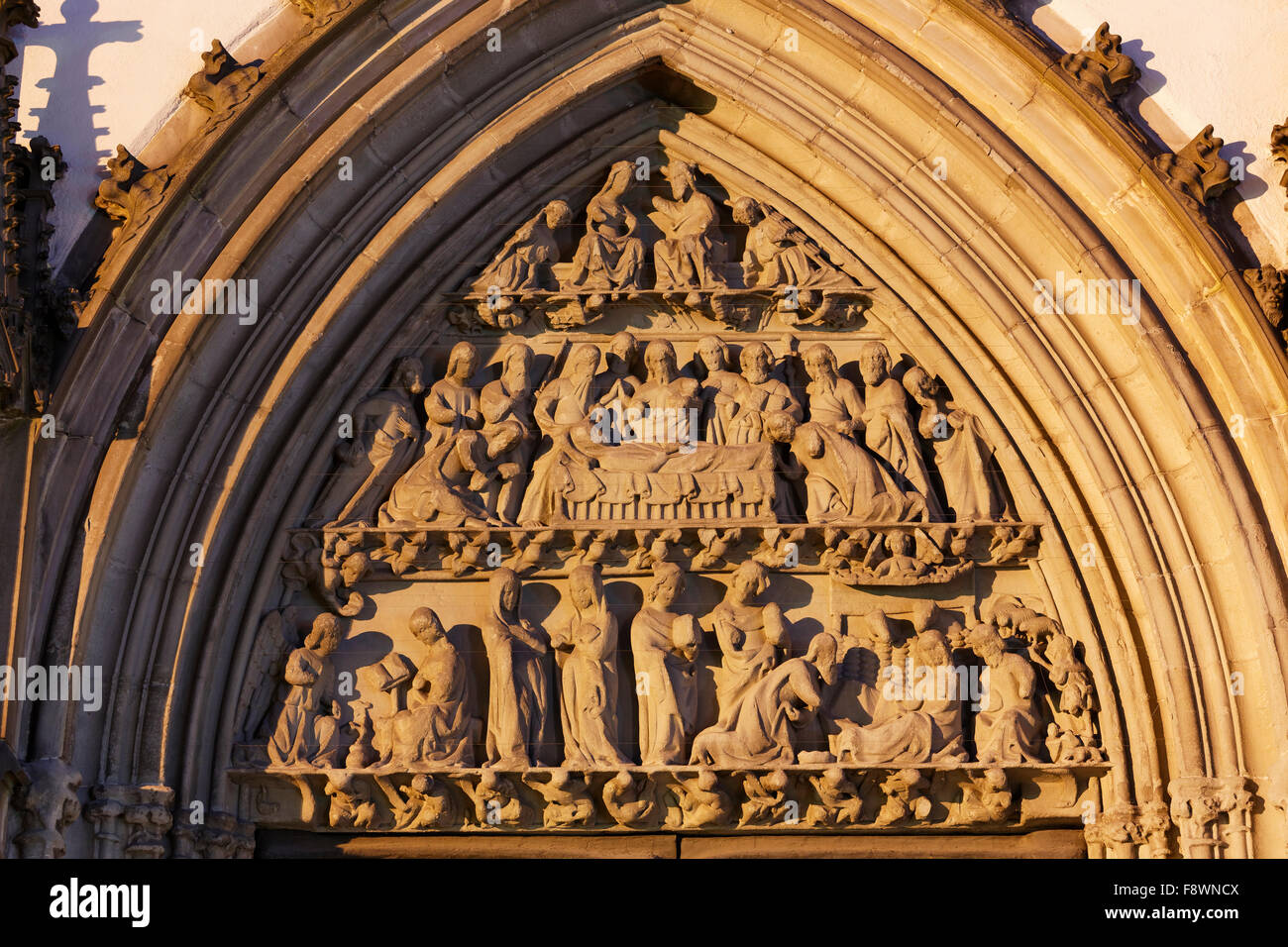 Tympanum of the Church of Our Lady, Ravensburg, Upper Swabia, Baden-Württemberg, Germany - Stock Image