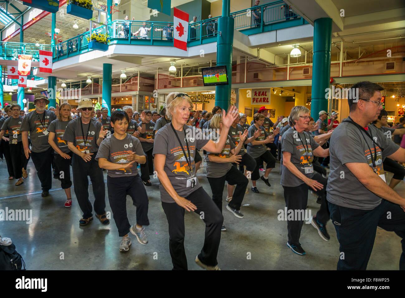 Tai Chi demonstration, Eau Claire Calgary, Alberta, Canada - Stock Image