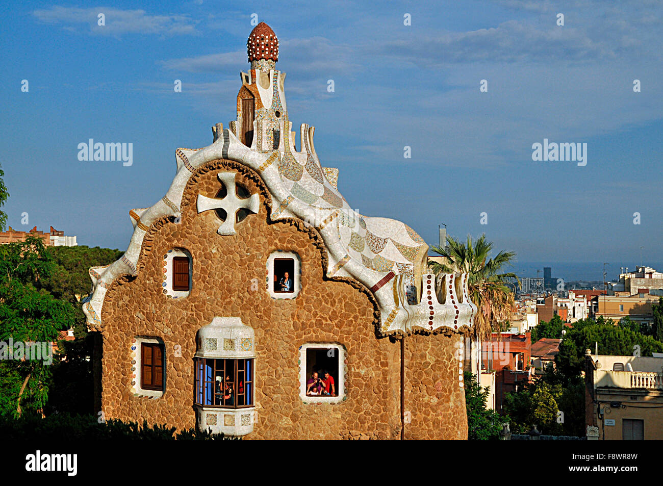 Gable of the Fairytale House, Park Güell, Barcelona, ​​Catalonia, Spain - Stock Image