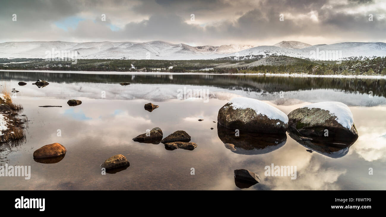 Loch Morlich Winter in the Cairngorms National Park of Scotland. Stock Photo