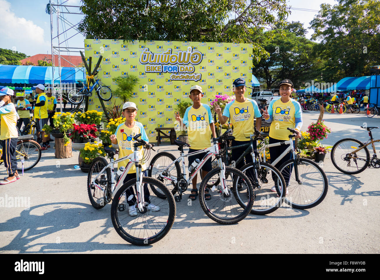 Singburi, Thailand. 11th December, 2015. Unidentified Cyclist in parade for 'Bike for Dad', event show respected - Stock Image