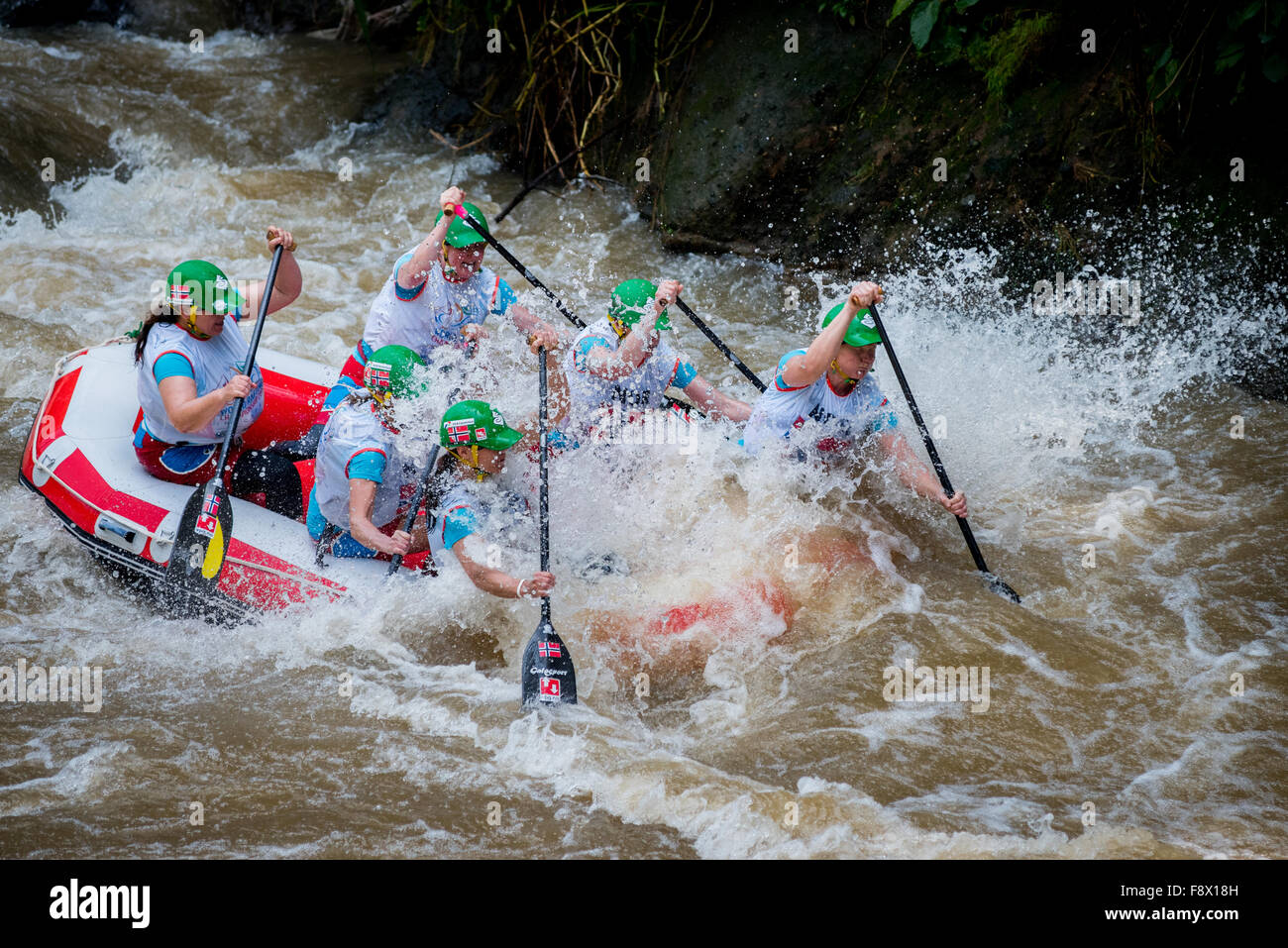 Norwegian master women team during head to head sprint category on World Rafting Championship. - Stock Image