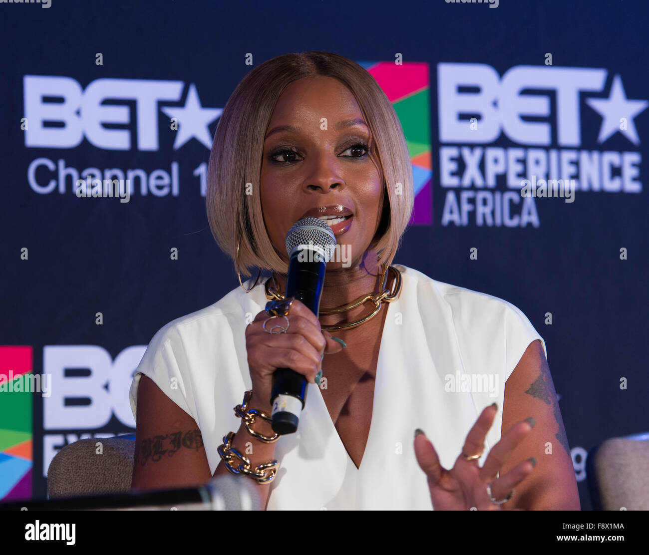 Mary J Blige at the BET Experience Africa press conference. - Stock Image