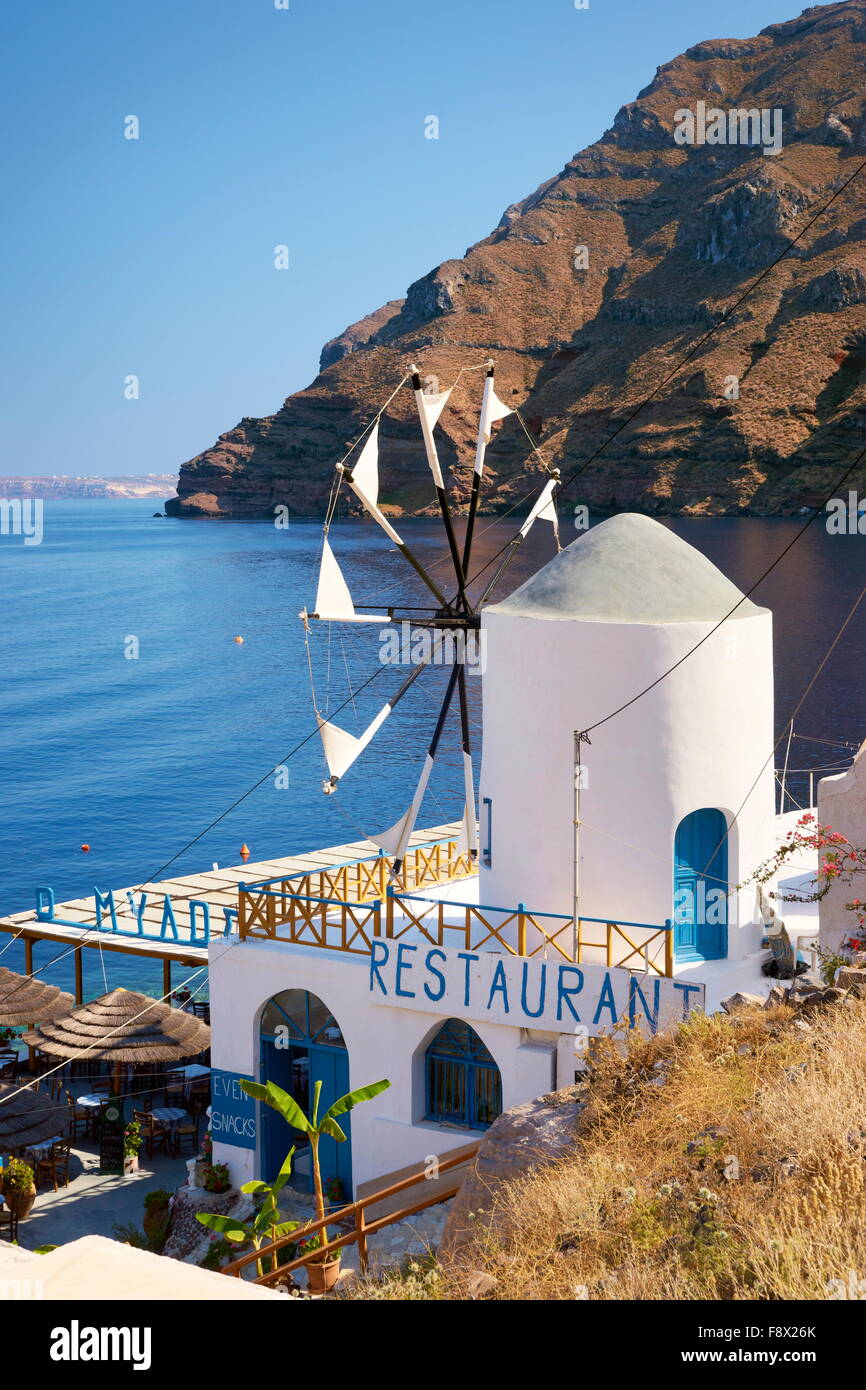 Thirasia - Greece, Cyclades Islands, windmill in the port Korfos - Stock Image