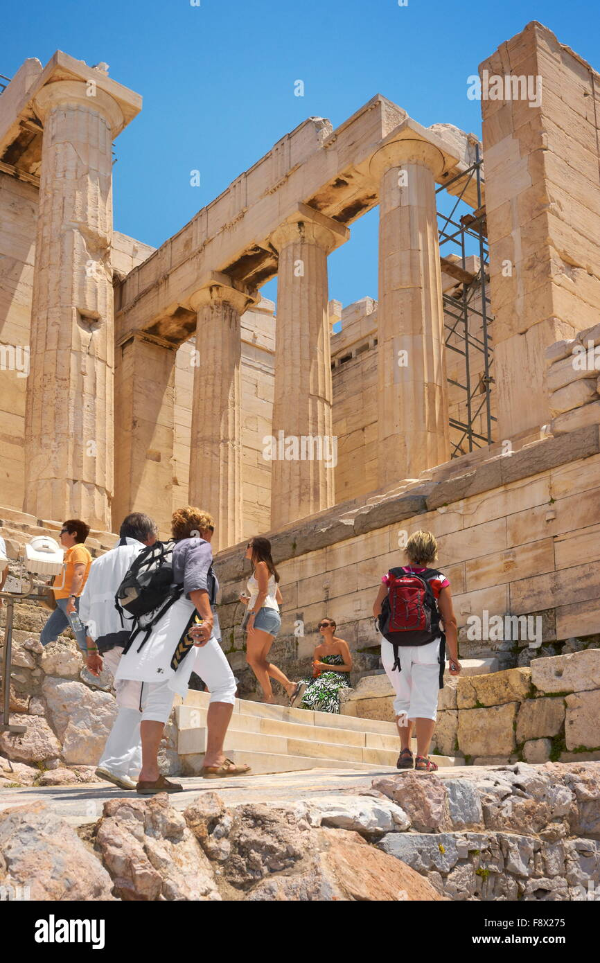Athens - Acropolis, passage through the Propylaea, Greece - Stock Image