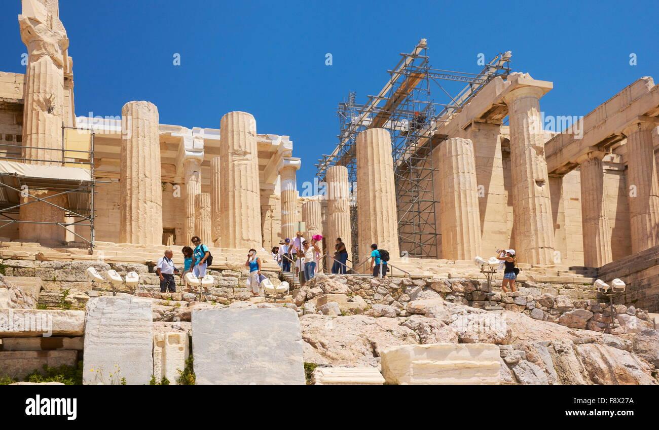 Athens - Acropolis, passage through the Propylaea, Greece - Stock Image