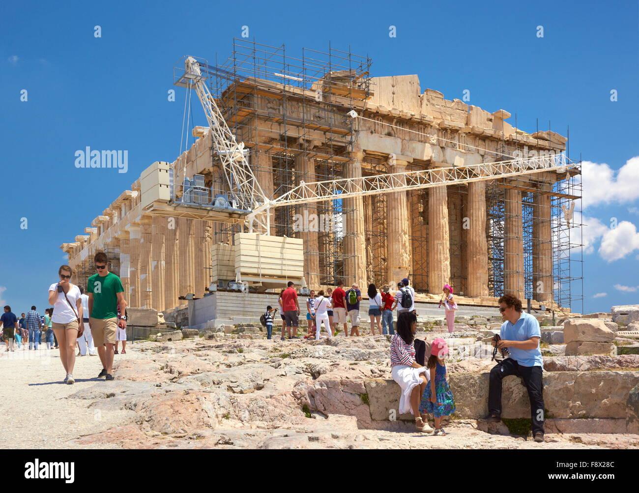 Athens - Acropolis, Parthenon Temple, Greece, unesco Stock Photo
