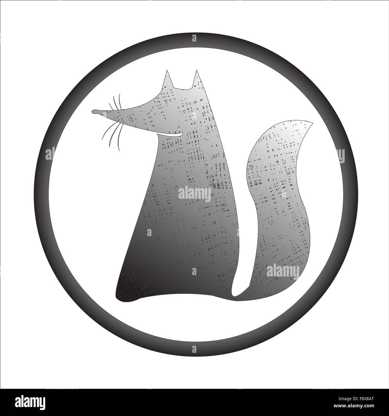 fox stamp - Stock Image
