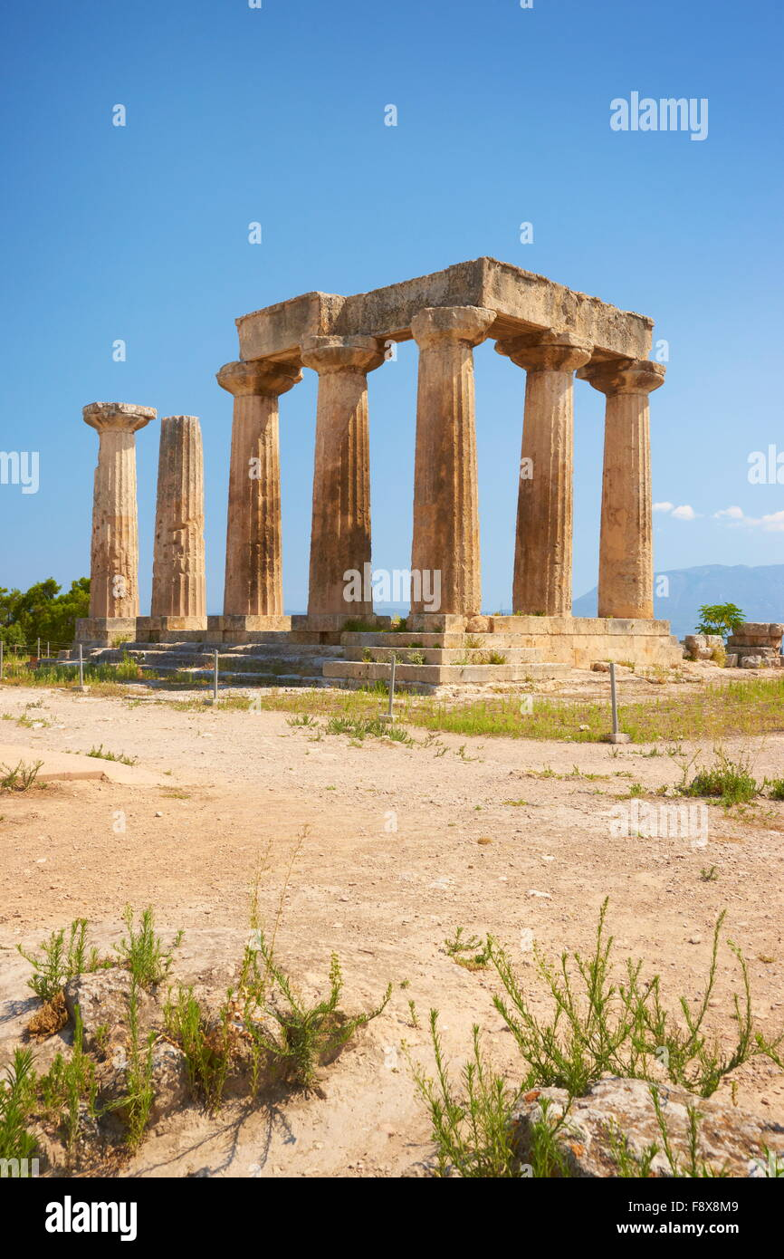 Corinth, Ruins of the Temple of Apollo at the archaeological site, Greece, Peloponnese - Stock Image