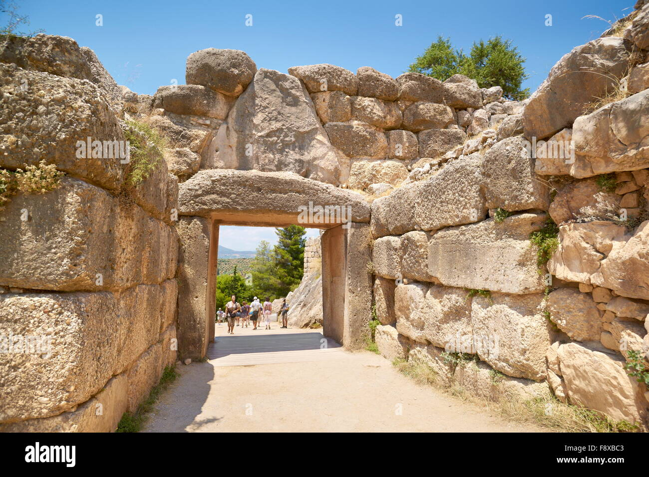 Ancient city of Mycenae, Liongate wall around the akropolis of Mykene, Peloponnese, Greece - Stock Image