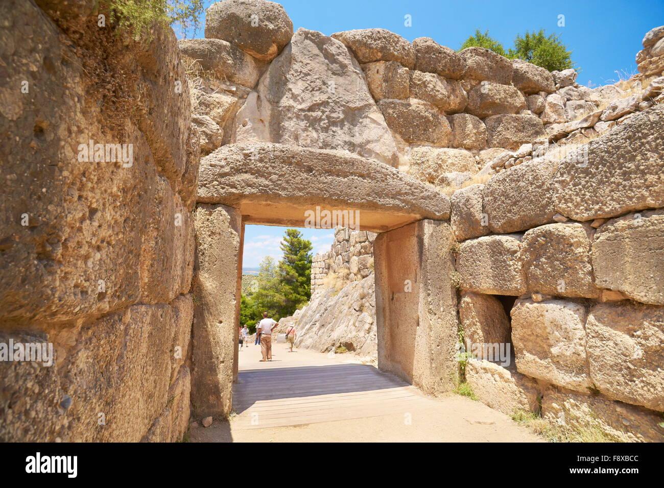 Ancient city of Mycenae, Lion gate wall around the akropolis of Mykene, Peloponnese, Greece - Stock Image