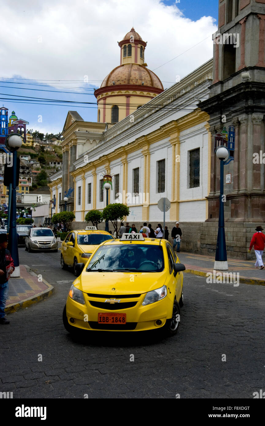 Taxis in Streets of Otavalo, Equador - Stock Image