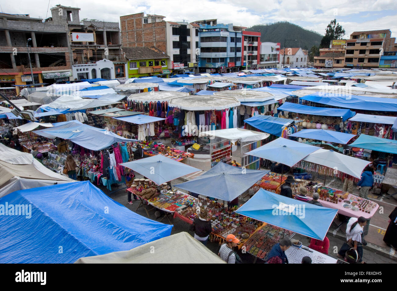 Colorful marketplace in Otavalo, Ecuador - Stock Image