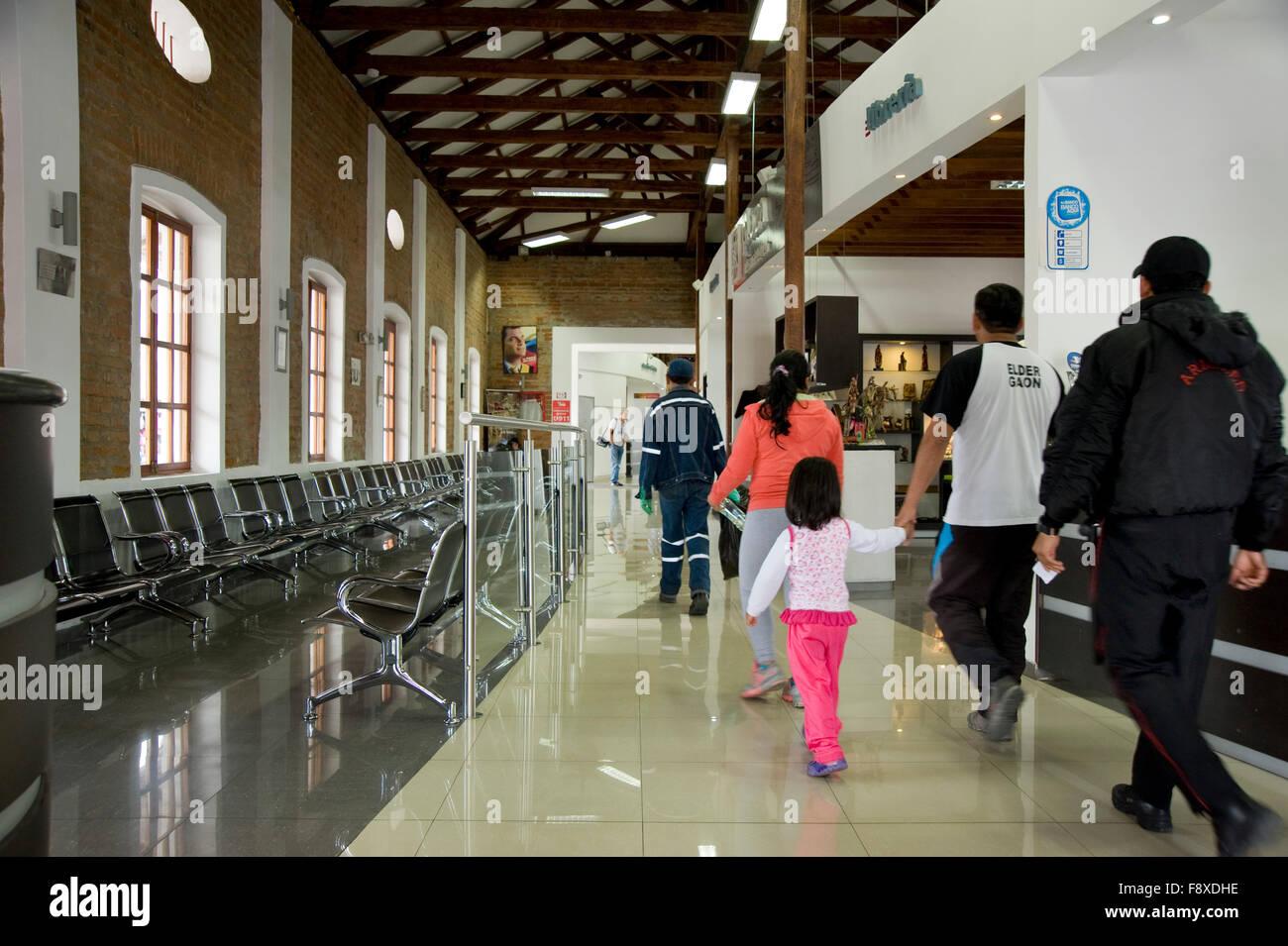 Modern train station in Ibarra, Ecuador - Stock Image