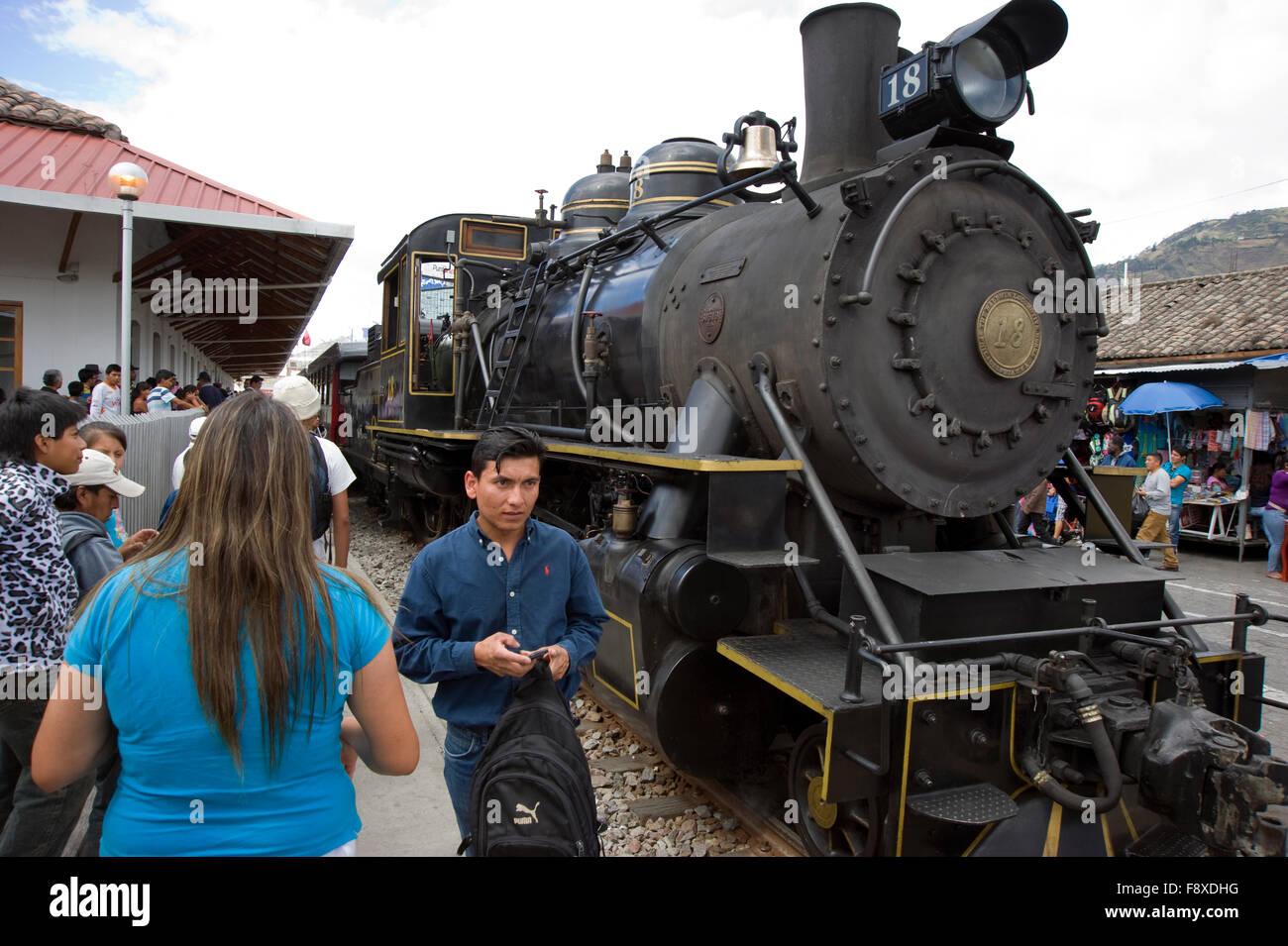 Engine of railroad train at the station in Ibarra, Ecuador. - Stock Image