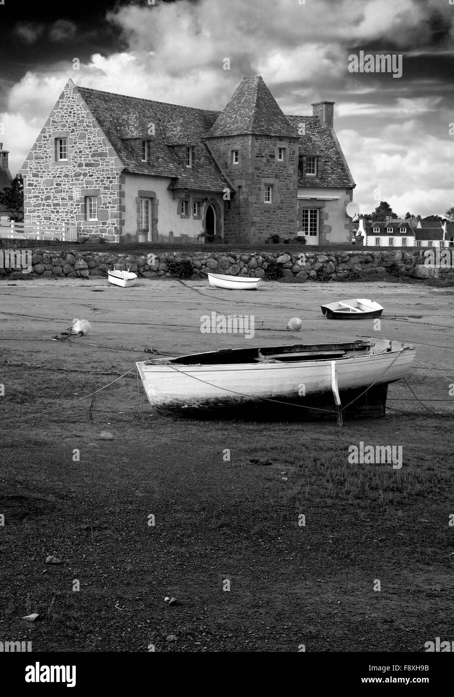 Ancient house and boats on a mooring beautiful scenery in black and white