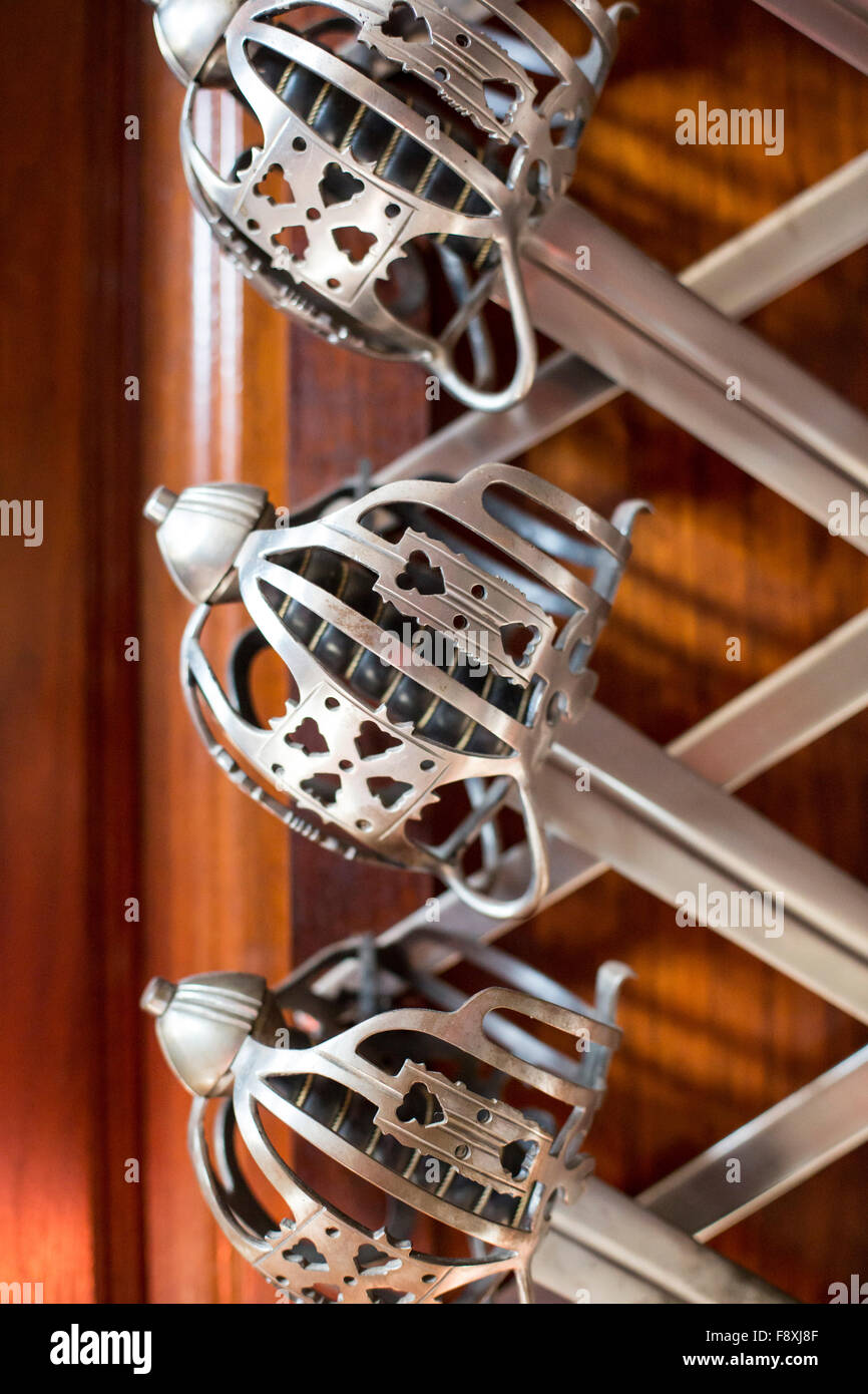 Williamsburg, Virginia - Swords in the Governor's Palace at Colonial Williamsburg. - Stock Image