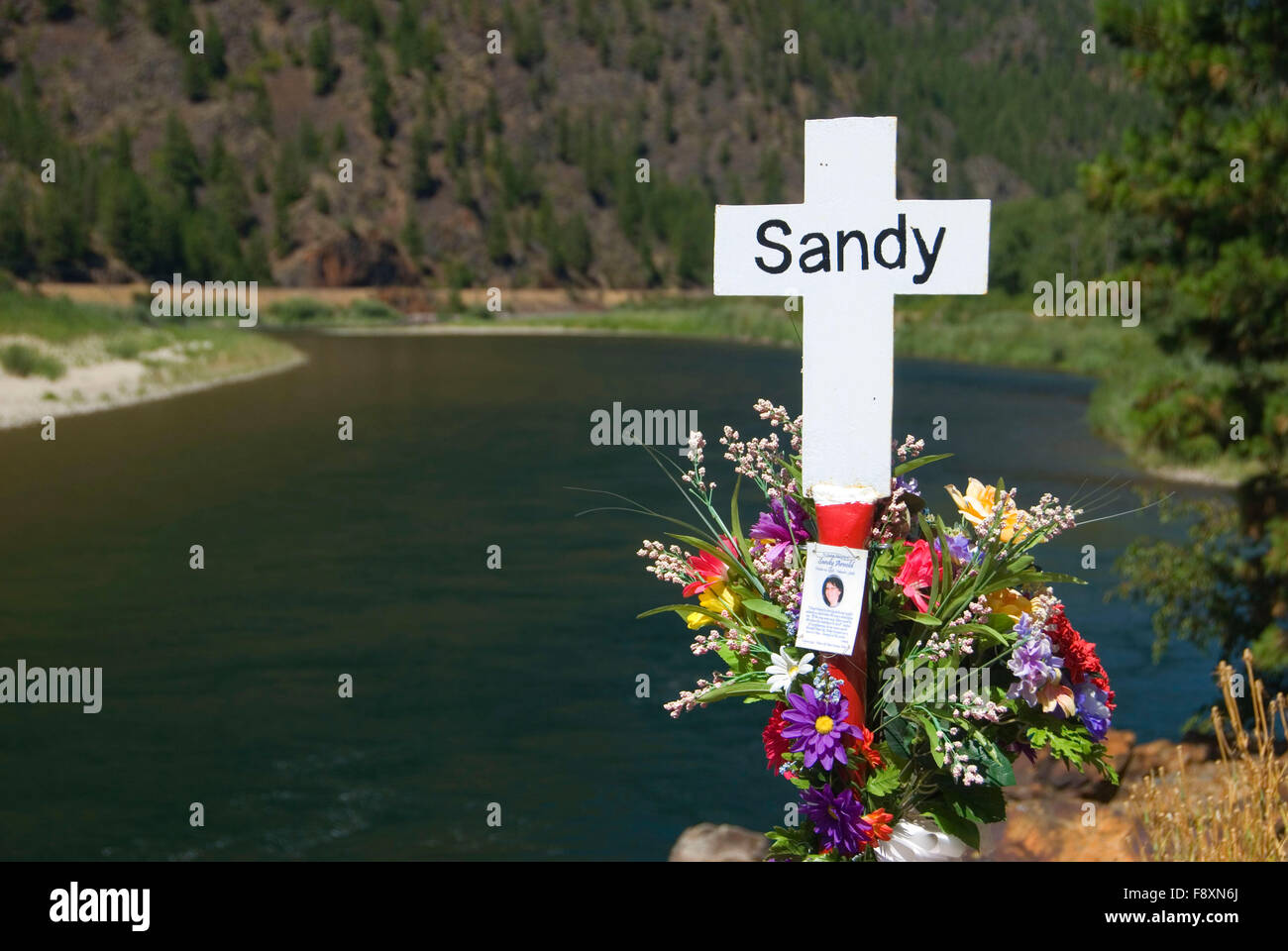Montana American Legion White Cross Highway Fatality Marker, St Regis-Paradise Scenic Byway, Lolo National Forest, - Stock Image