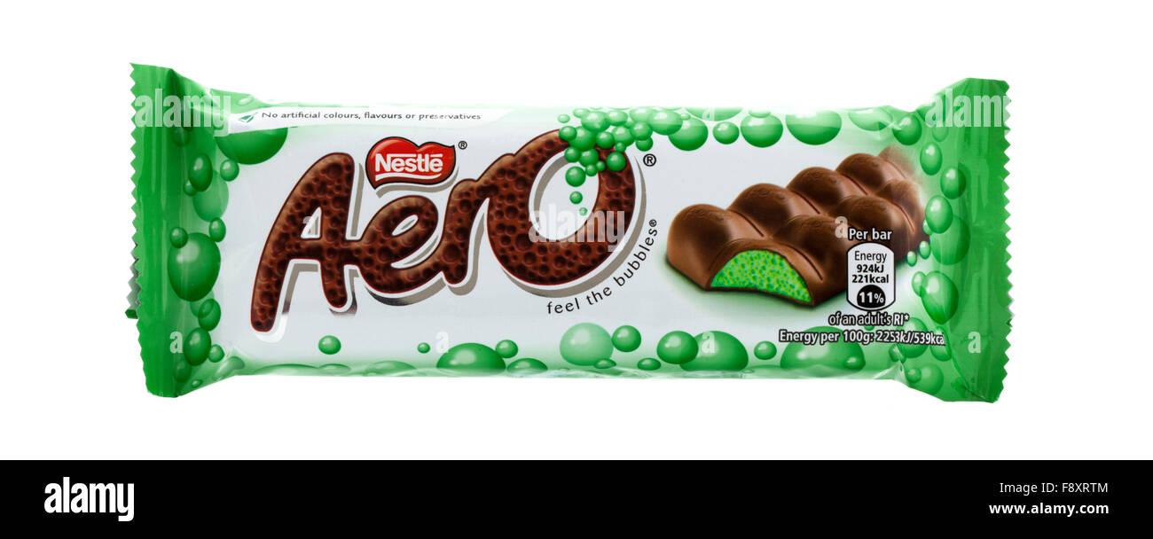 Aero Mint Chocolate by Nestle on a white background - Stock Image
