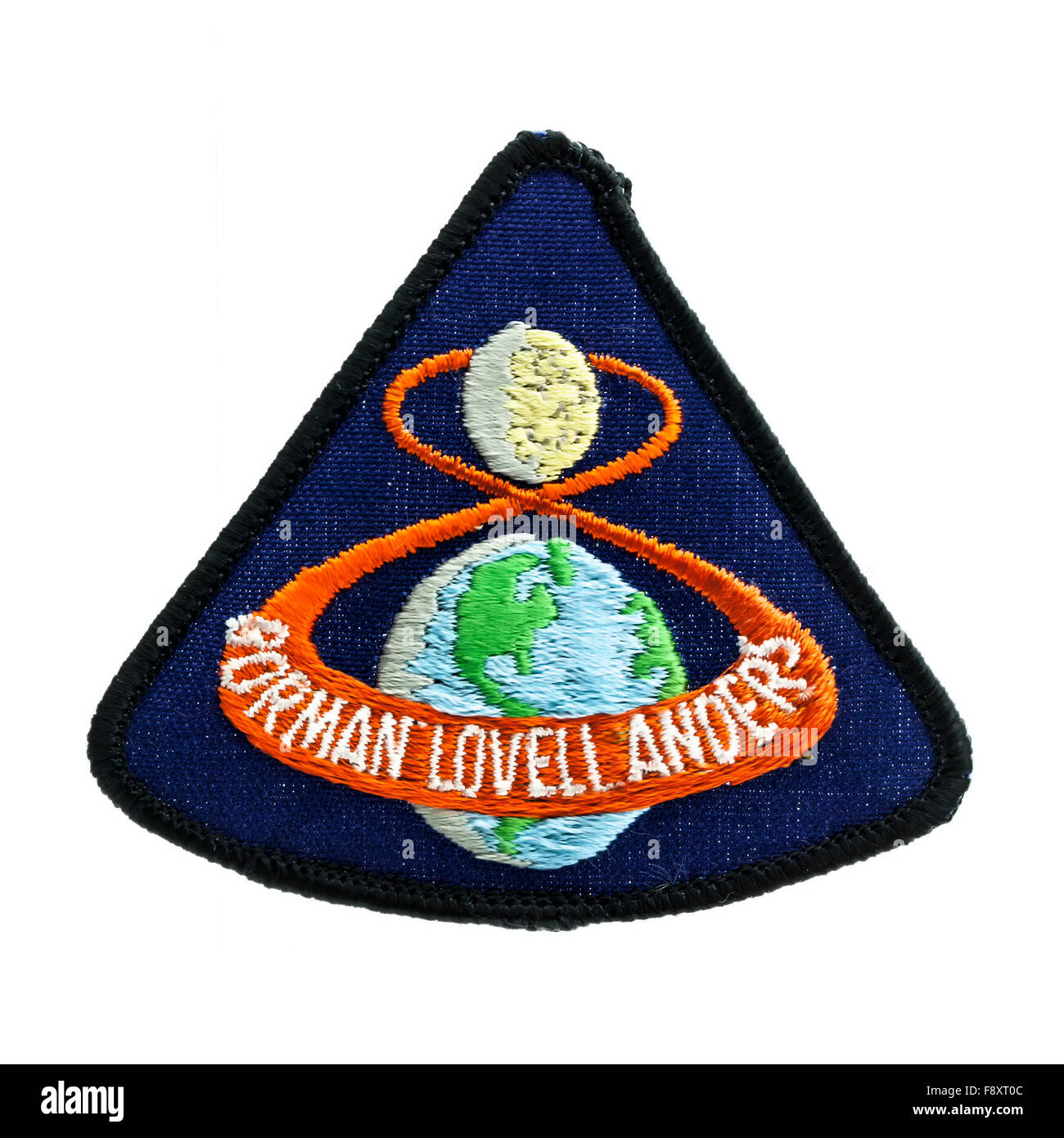 Apollo 8 Mission Badge from 1968 Moon flight on a White Background - Stock Image