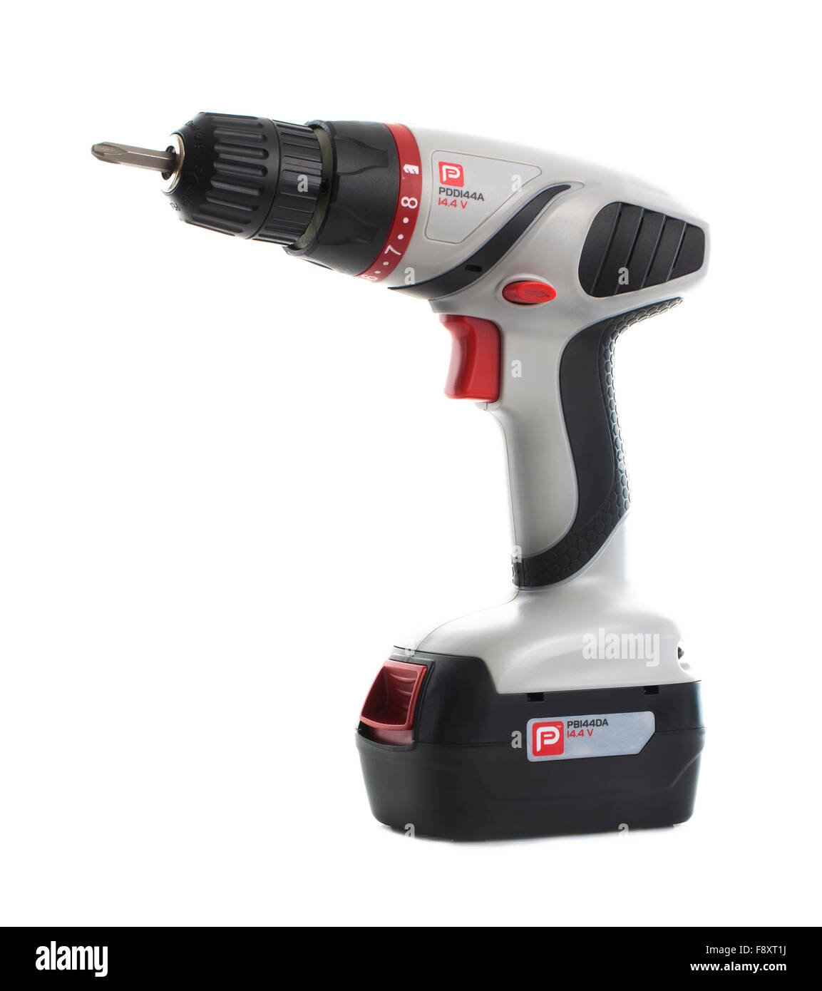 Performance Power Cordless Drill Driver on a white background - Stock Image