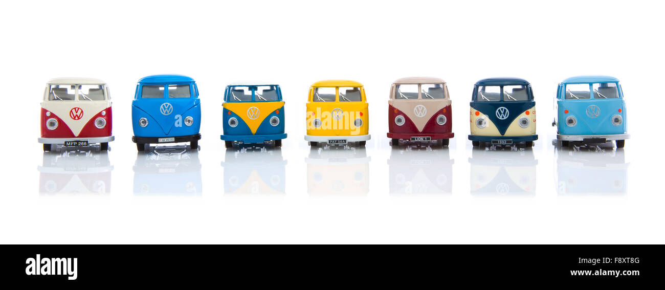 Collection Of  Old VW Vans Made By Corgi on a White Background - Stock Image