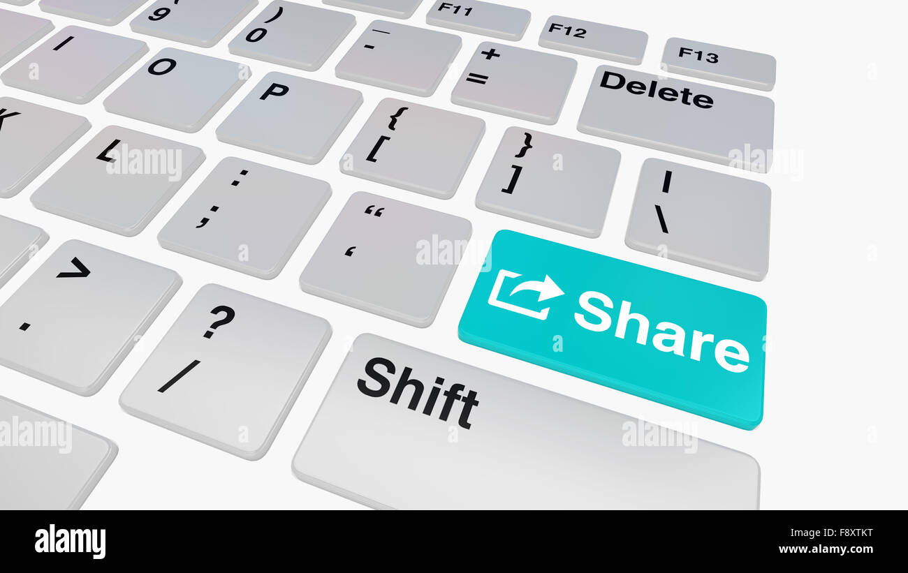Keyboard with blue share key concept for file sharing and social media - Stock Image