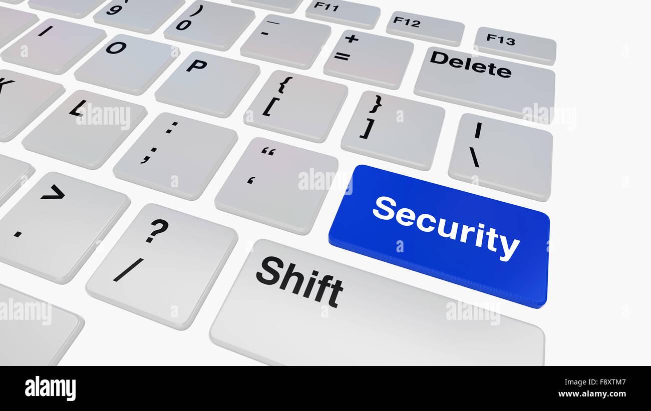 Keyboard with blue security enter key illustration - Stock Image