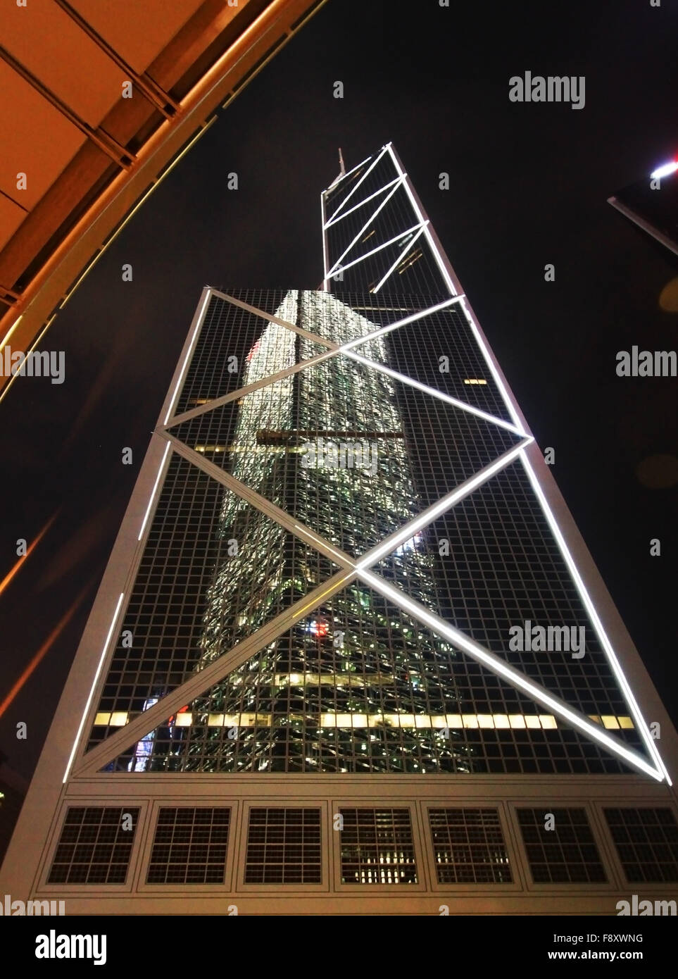 Reflection of a building on another building in Hongkong night time - Stock Image