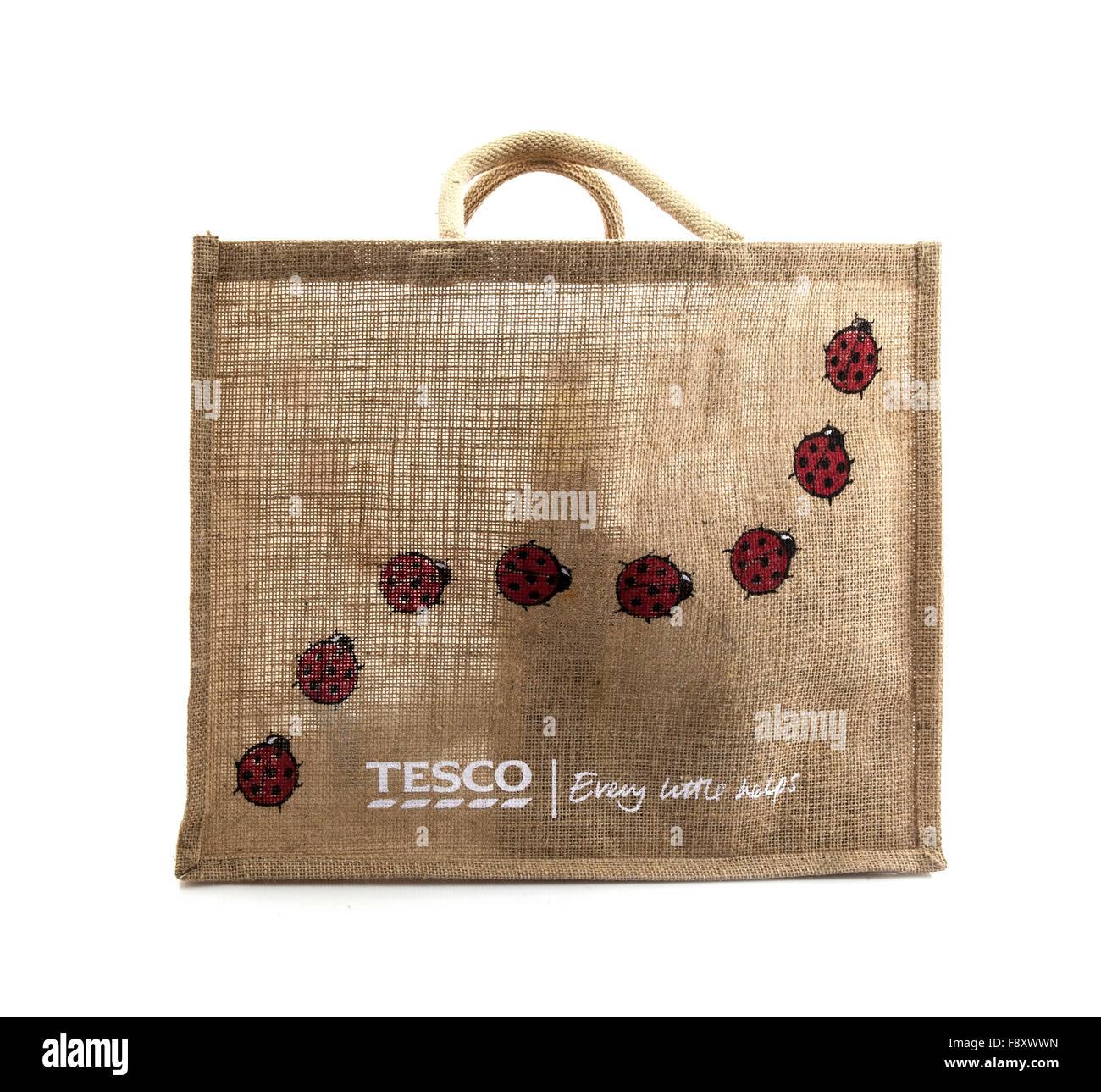 Tesco reusable Bag for Life on a white background - Stock Image