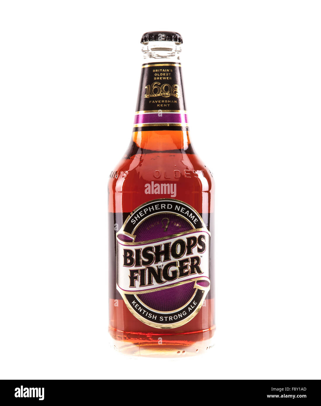 Bottle of Bishops Finger real ale brewed by Shepherd Neame Britain's oldest brewer 1698 - Stock Image