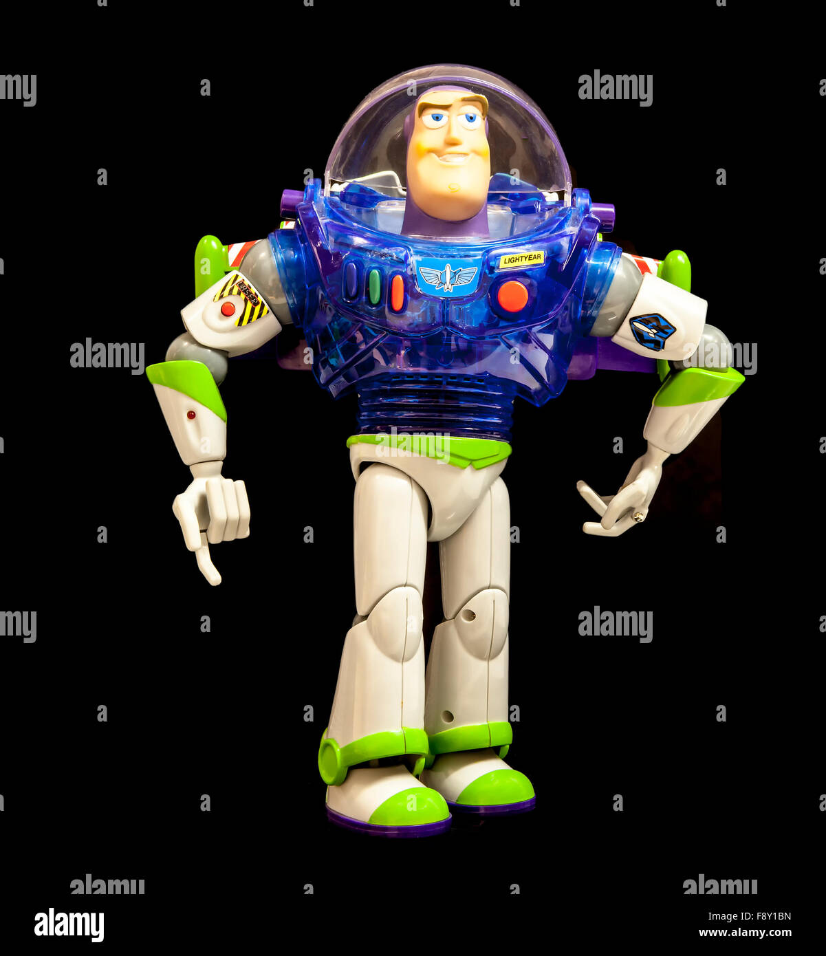 Buzz Lightyear from Disney's Toy Story 2 on a Black Background - Stock Image