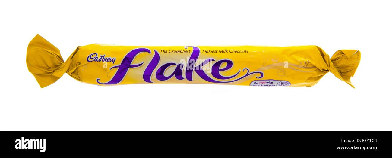 Cadbury's Flake chocolate bar on a white background - Stock Image
