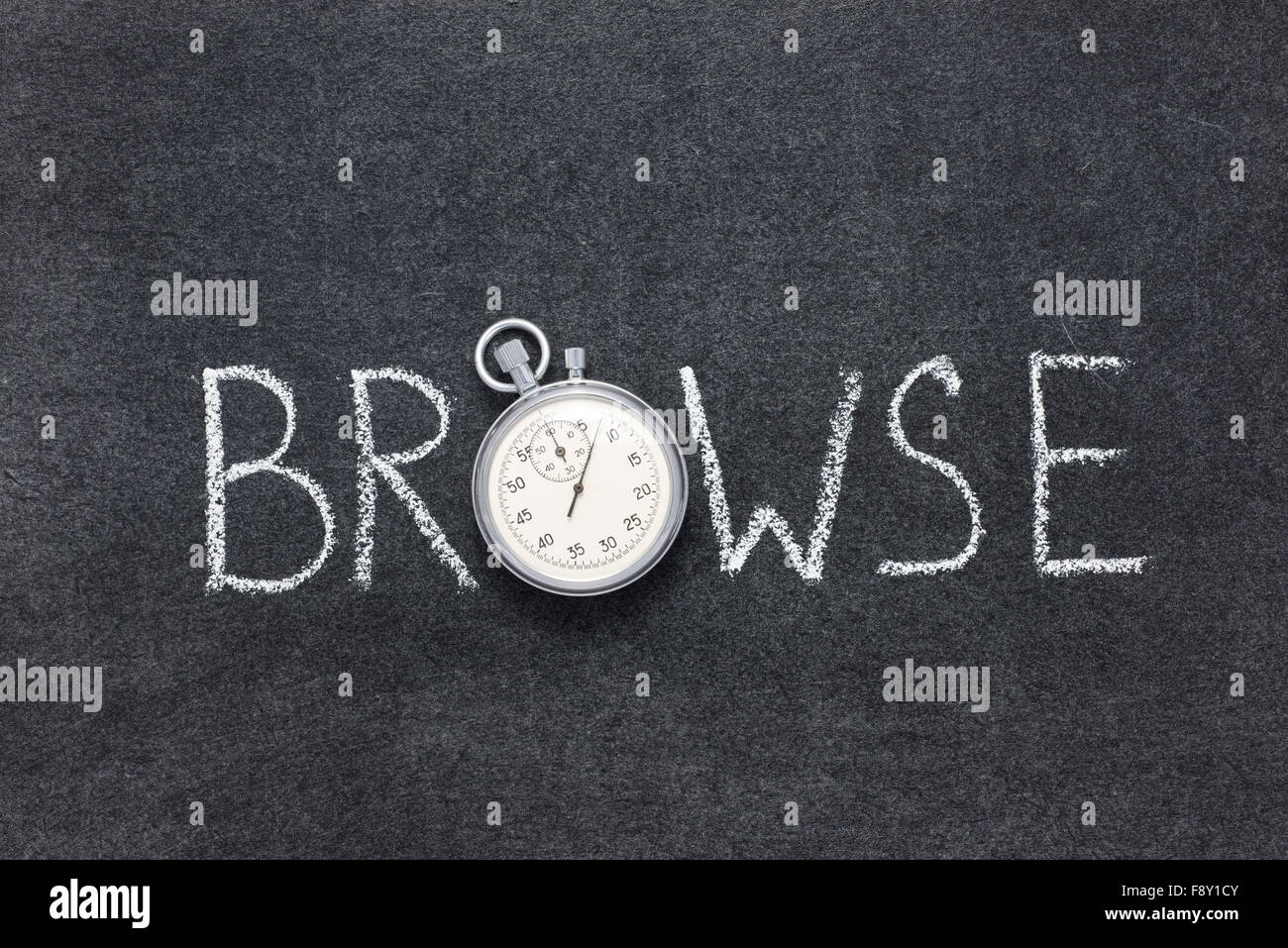 browse word handwritten on chalkboard with vintage precise stopwatch used instead of O - Stock Image
