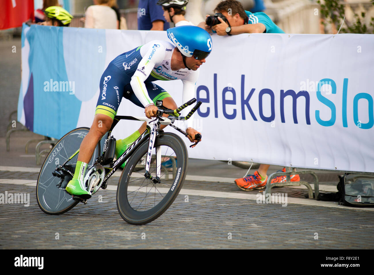 LJUBLJANA, SLOVENIA - June, 19. 2014: Winner MATTHEWS Michael - ORICA GREEN EDGE ride during the 21. Tour of Slovenia - Stock Image