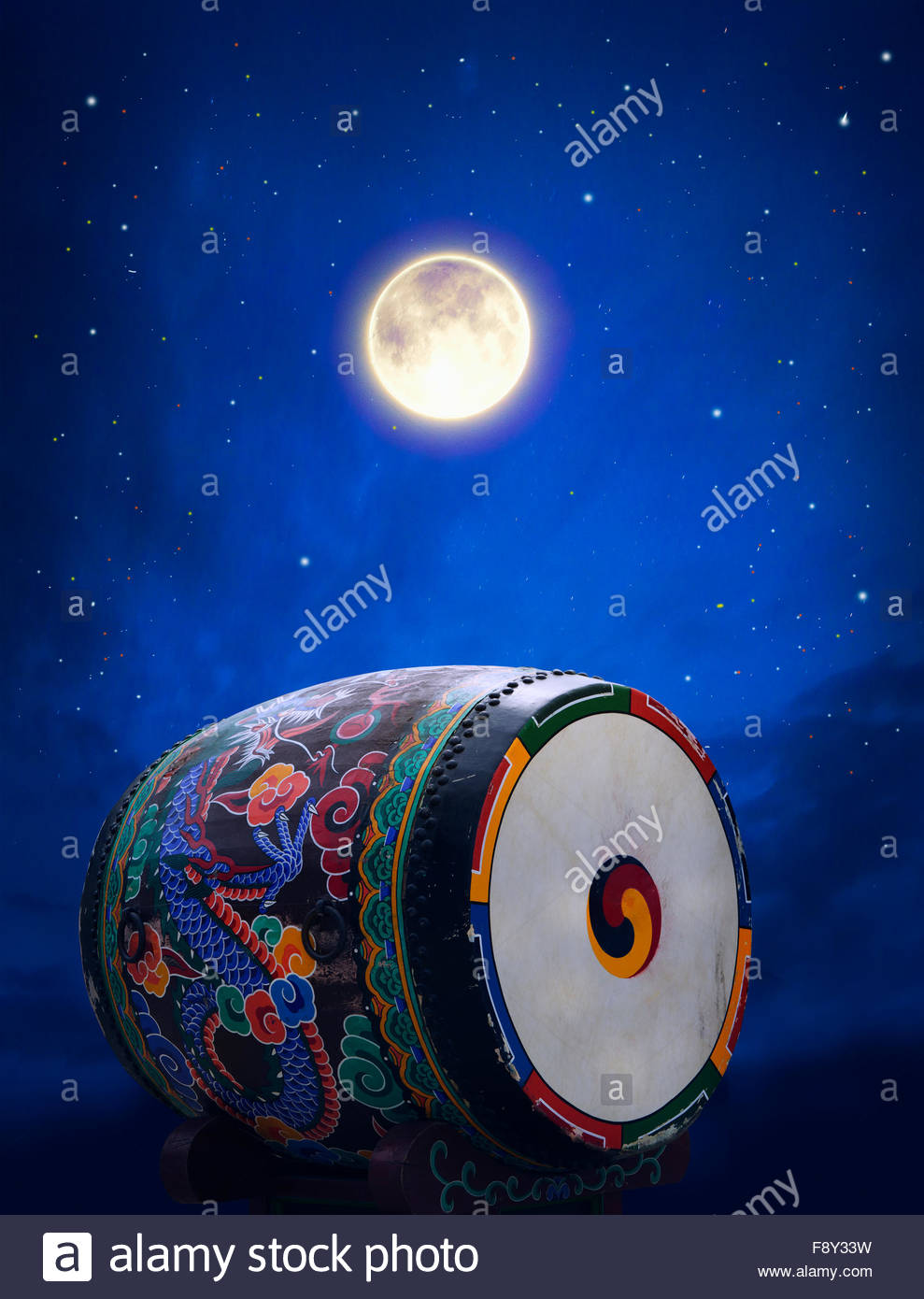 Korean drum with black sky in the background - Stock Image