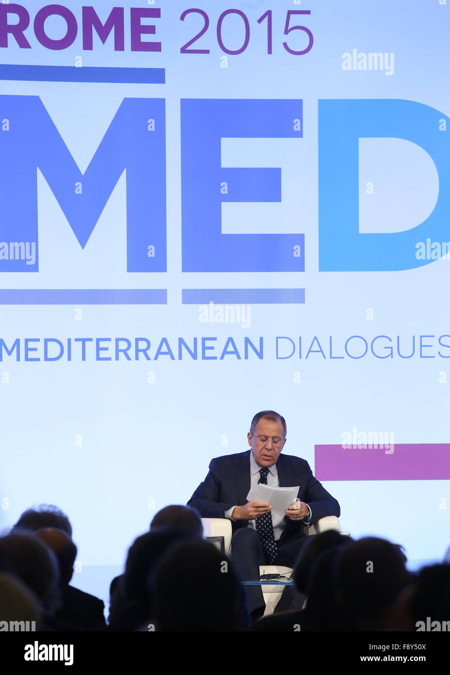 Rome, Italy. 11th Dec, 2015. Russia's Foreign Minister Sergei Lavrov attends the Rome 2015 MED - Mediterranean - Stock Image