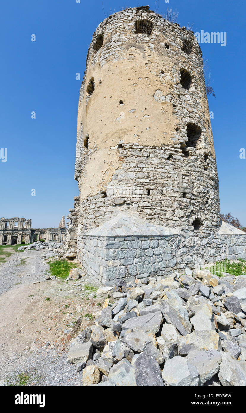 The ruins of a medieval Skala Podilsky castle on the right bank of river Zbruch (Ternopil oblast, Ukraine). Construction Stock Photo