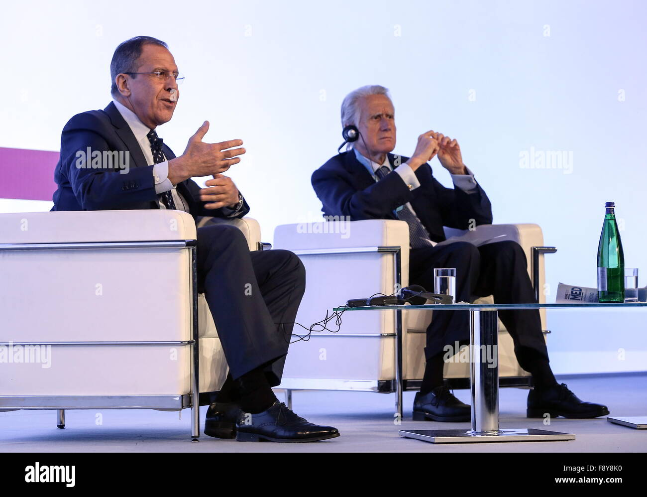 ROME, ITALY. DECEMBER 11, 2015. Russia's Foreign Minister Sergei Lavrov (L) speaks at the Rome 2015 MED - Mediterranean - Stock Image