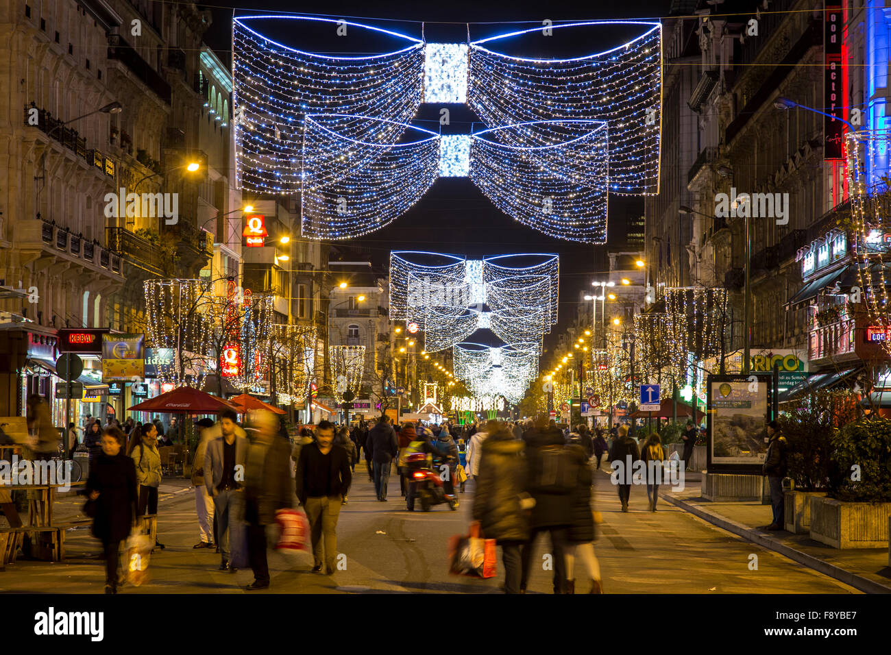 Christmas time in Brussels, Belgium, Christmas markets and illumination in the old town, - Stock Image
