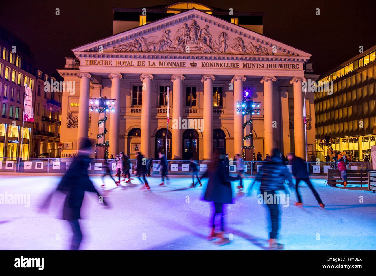 Christmas time in Brussels, Belgium, ice rink on Place de la Monnaie Stock Photo: 91570834 - Alamy
