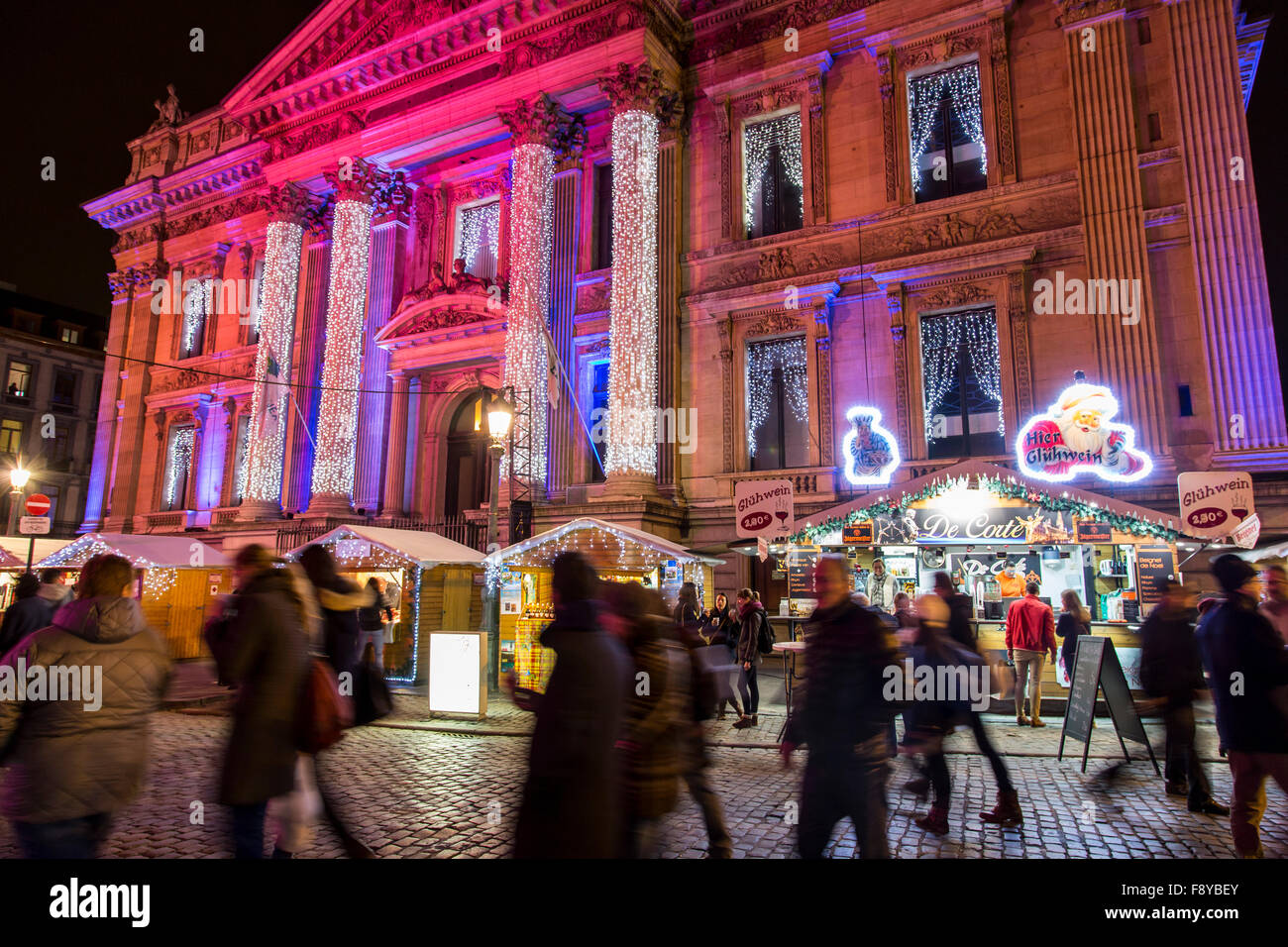 Christmas time in Brussels, Belgium, Christmas markets and illumination in the old town, stock exchange plaza, - Stock Image
