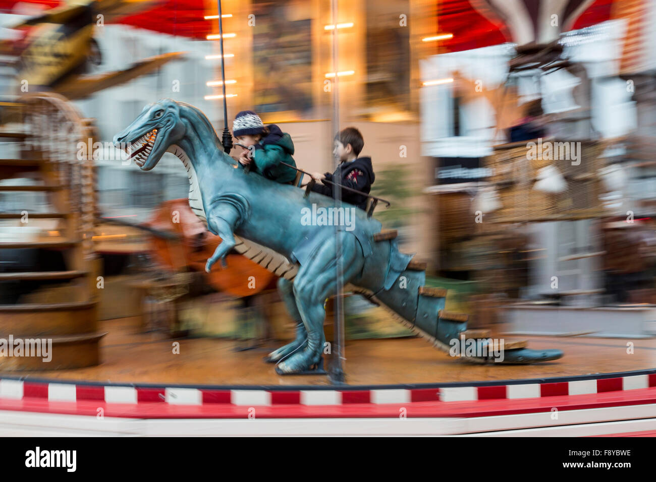 Christmas market in Brussels, Belgium, old fashioned carousel, - Stock Image