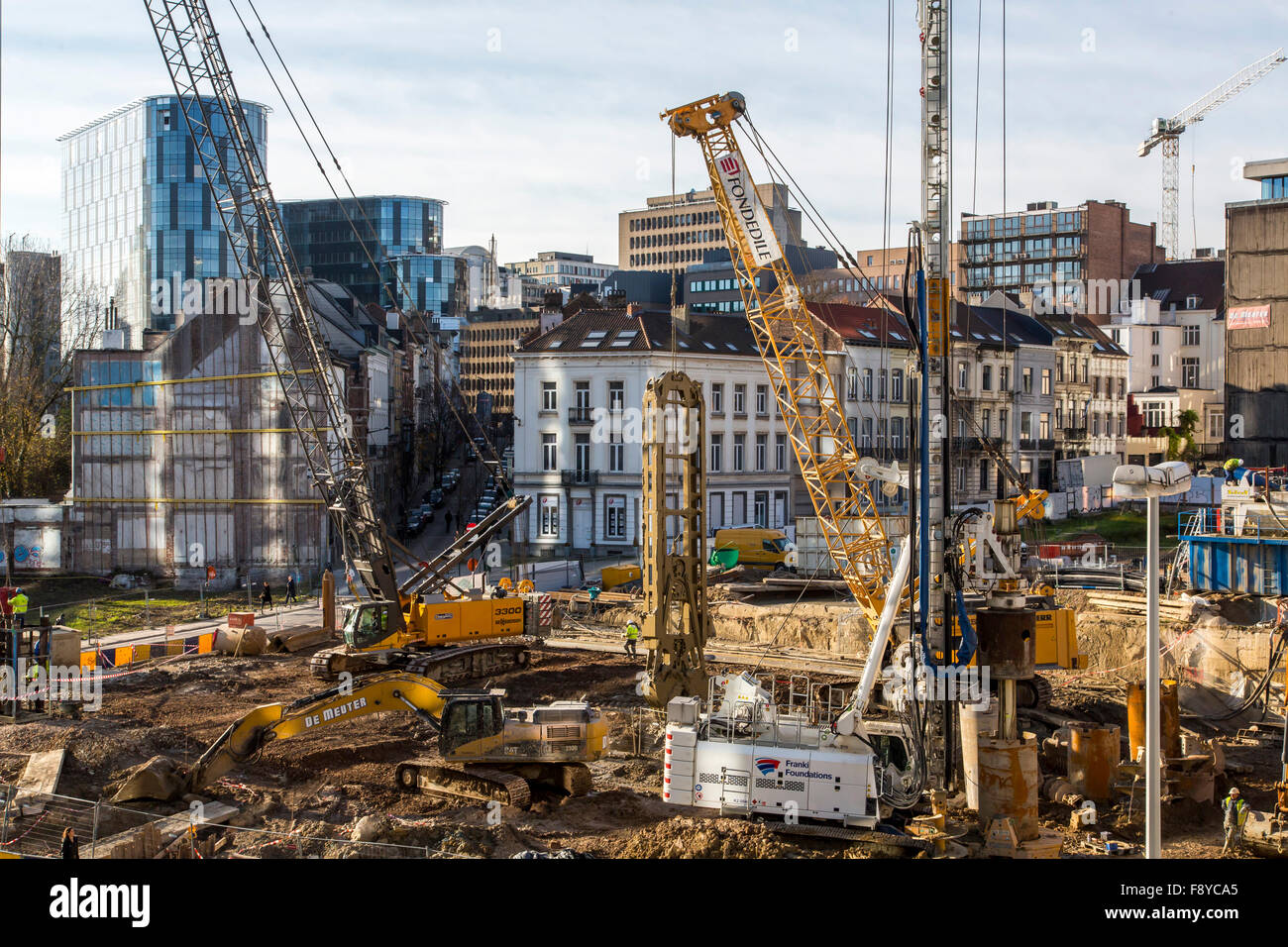 Construction site in the EU government district in Brussels, Belgium - Stock Image