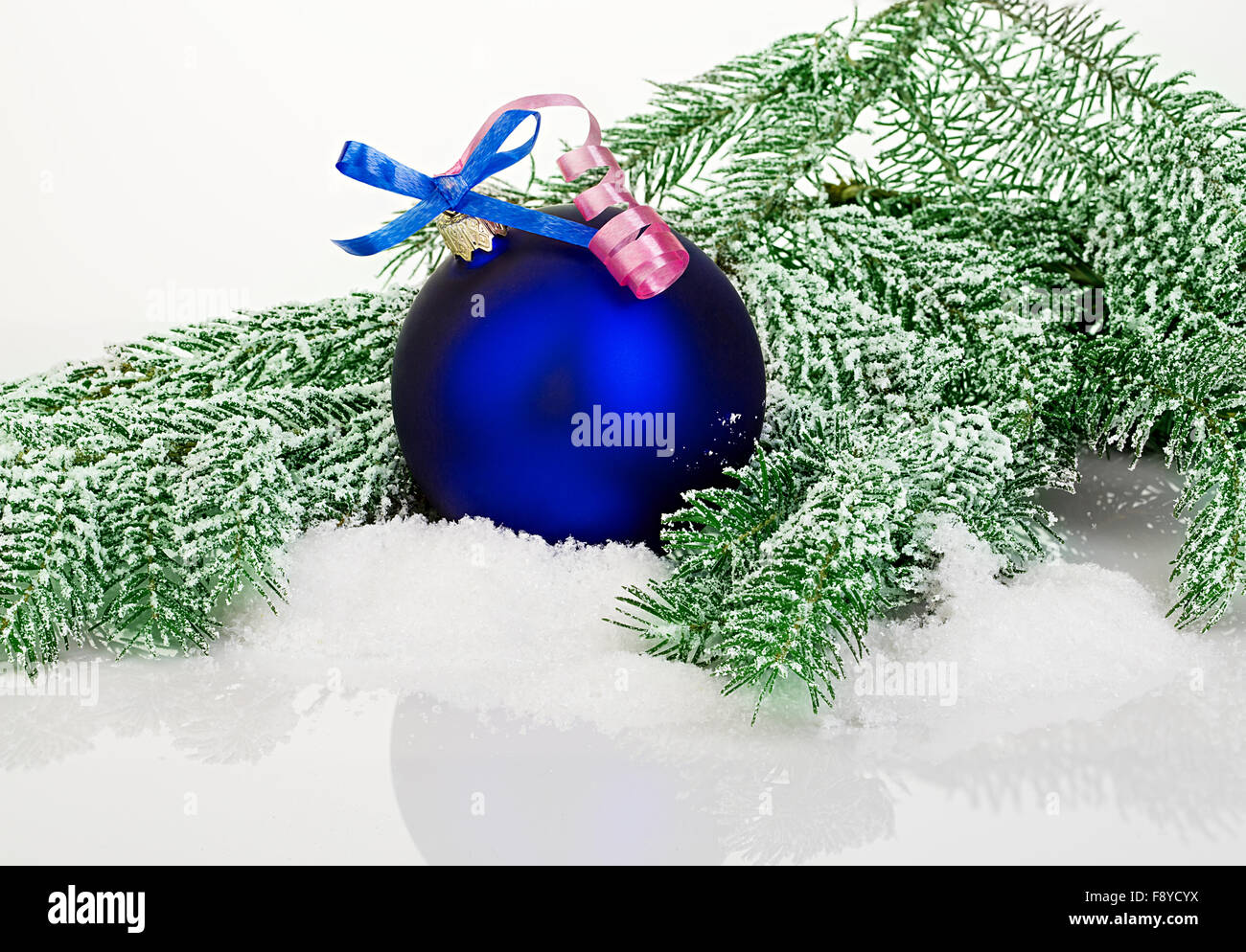 beautiful blue christmas ball on frosty fir tree christmas ornament stock image - Frosty Blue Christmas Decorations