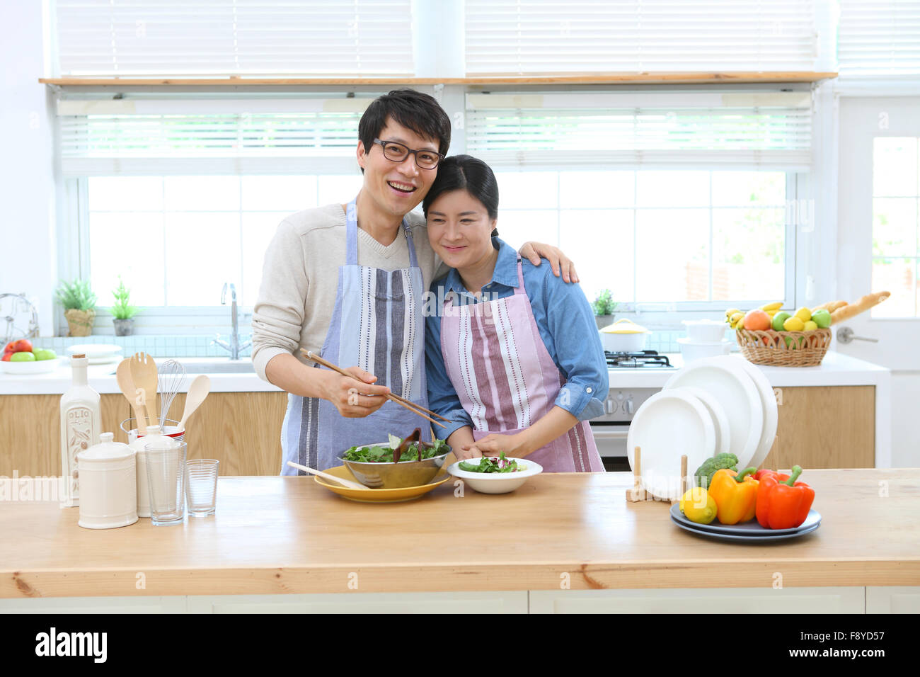 Family in the kitchen - Stock Image
